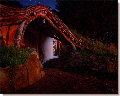 Photo by Simon Dale - The hobbit house at night