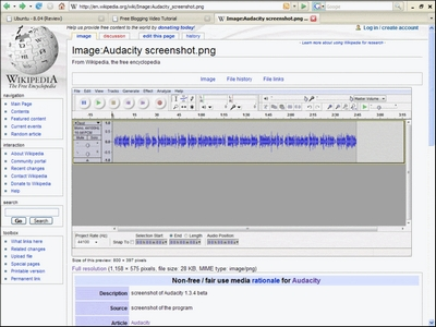 Screenshot from wikipedia about Audacity the free sound editing program