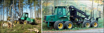 The harvester cuts and debrances logs and the forwarder collects them according to thickness and lenght. Both have programmable computer programs.